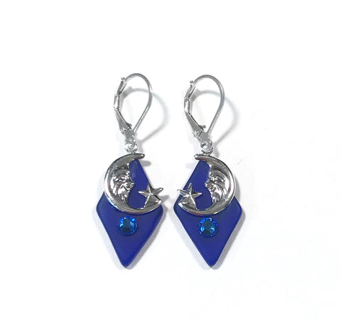 Moon and Star Earrings - Blue Glass - Sterling Silver Leverbacks