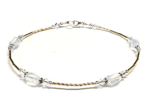 White Glass Opal and Crystal Ankle Bracelet