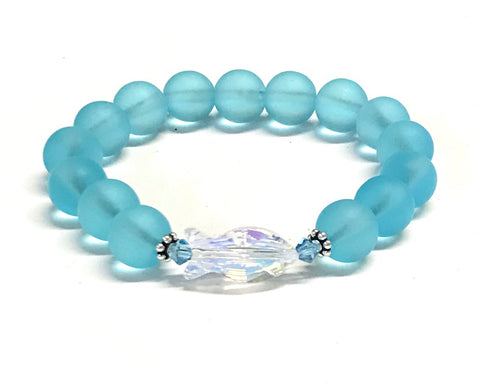 Crystal Fish and Aqua Matte Glass Stretch Bracelet