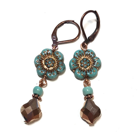 Wild Rose Czech Glass Flower Leverback Earrings