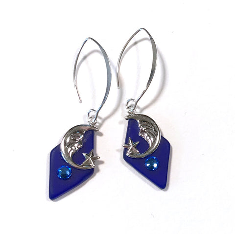 Moon and Star Earrings - Blue Glass - Sterling Silver Earwires