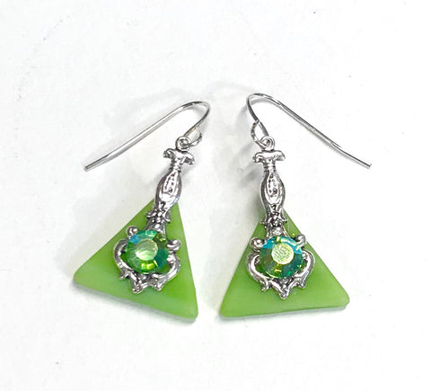 Lime Green Stained Glass Earrings - Peridot Crystal