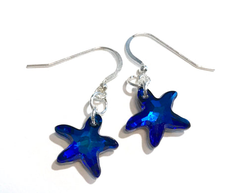 Bermuda Blue Swarovski Crystal Starfish Earrings - Hurstjewelry