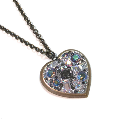 Crystal Heart Necklace - Antiqued Brass