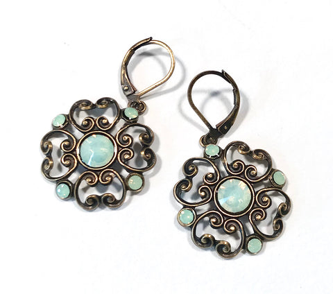 Filigree Earrings - Chrysolite Opal  Crystal - Brass Leverbacks