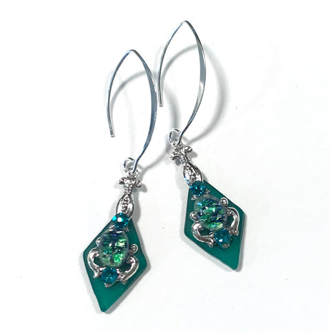 Green Stained Glass Earrings - Glass Opal - Sterling Silver Earwires