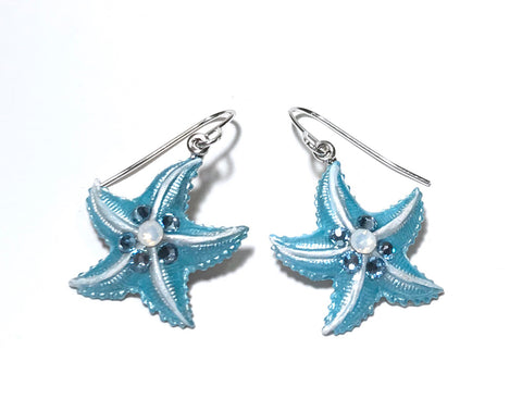 Starfish Earrings - Hand Painted Aqua