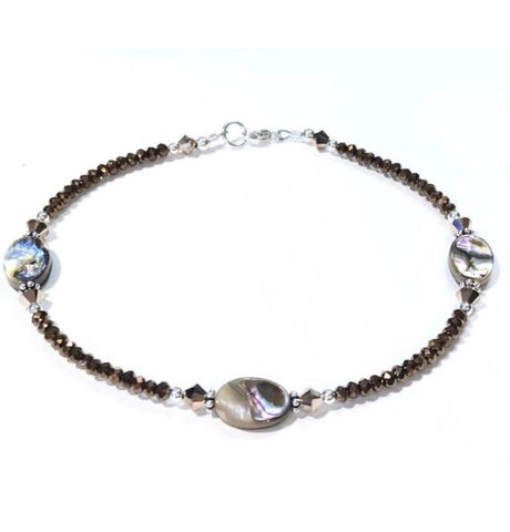 abalone ankle bracelet - crystal beads - sterling silver