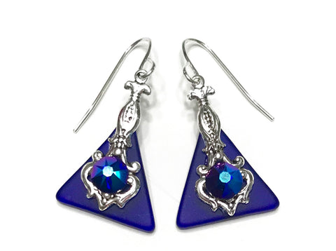 Cobalt Blue Glass Earrings - Hurstjewelry