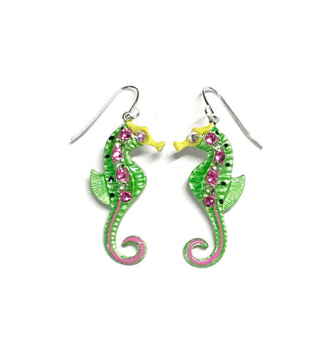 Hand painted seshorse earrings in the colors of citrus green and bright pink