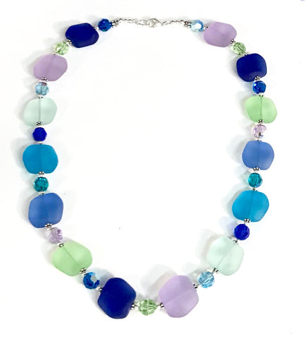 Coastal Inspired Glass and Crystal Necklace