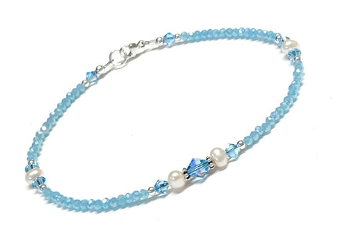 Light Aqua Anklet - Pearl and Crystal - Sterling Silver - 9 - 12 Inches Available