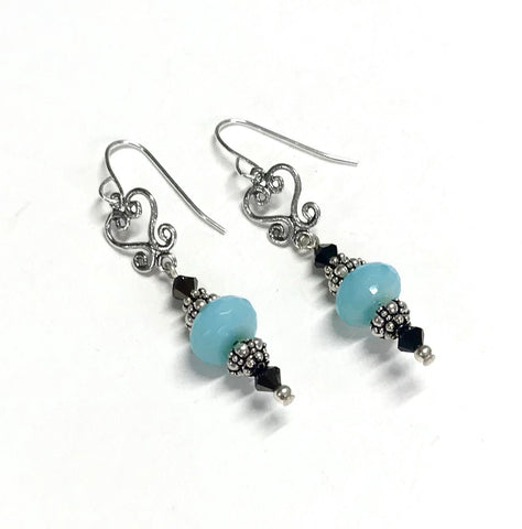Aqua Opalescent Glass and Jet Nut Crystal Earrings - Filigree - Sterling Silver - Aqua and Brown