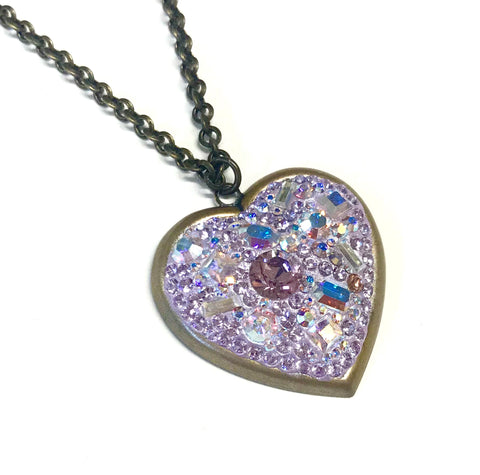 Crystal Heart Necklace - Antiqued Brass - Violet