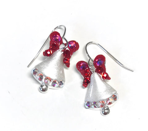 christmas bell earrings in white with red bows. Accented with Swarovski crystals
