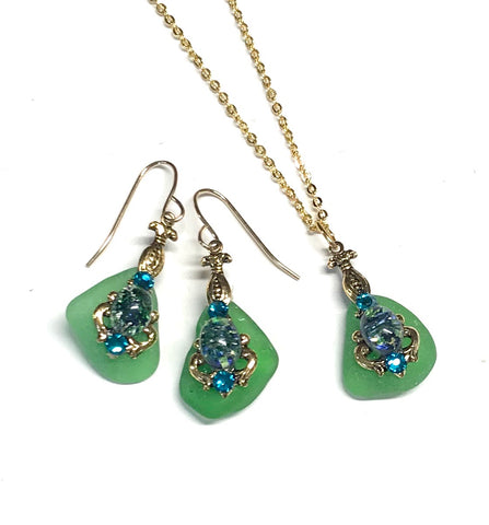 Green Sea Glass Earrings and Necklace Set