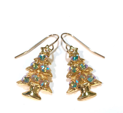 Gold Christmas Tree Earrings - Light Topaz AB Crystals - Holiday Jewelry