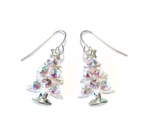 christmas tree earrings with crystals
