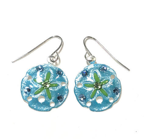 Sand Dollar Earrings - Hand Painted - Aqua and Lime