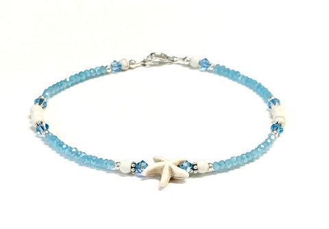 Aqua Ankle Bracelet - Starfish - Sterling Silver - Beach Anklet