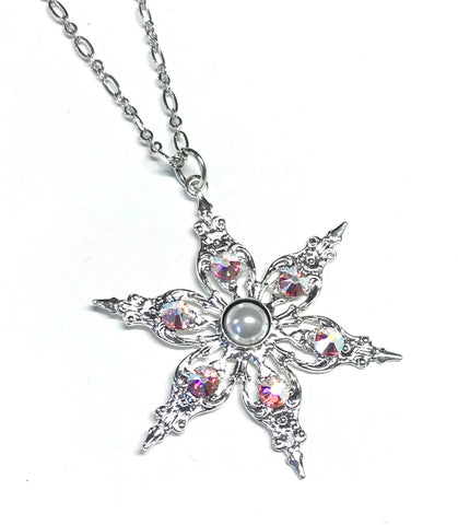 snowflake necklace with crystal AB Accents
