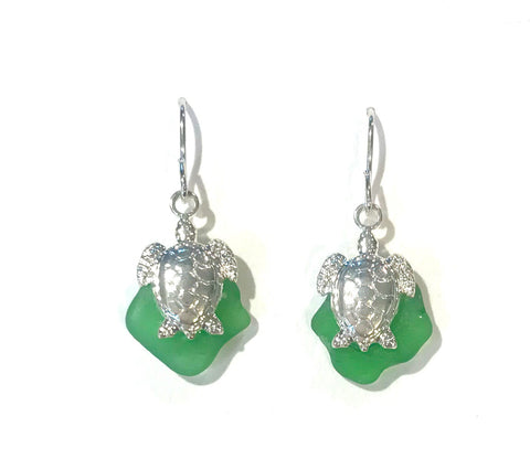 Turtle Earrings - Green Seaglass - Hurstjewelry