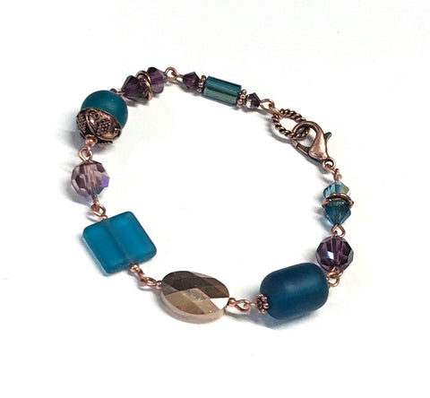 Hand linked teal and purple copper beaded bracelet