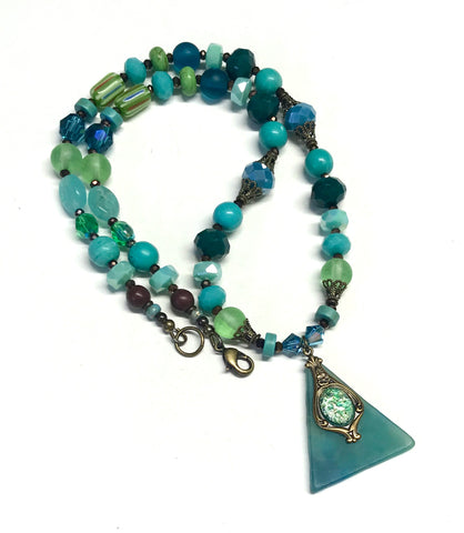 Blue and Green Beaded Necklace - Stained Glass Pendant