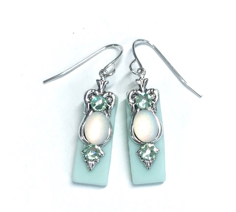 Seafoam Green Stained Glass Earrings