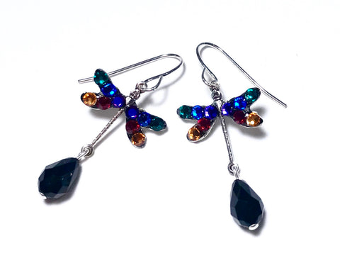 Dragonfly Earrings - Jewel Tone