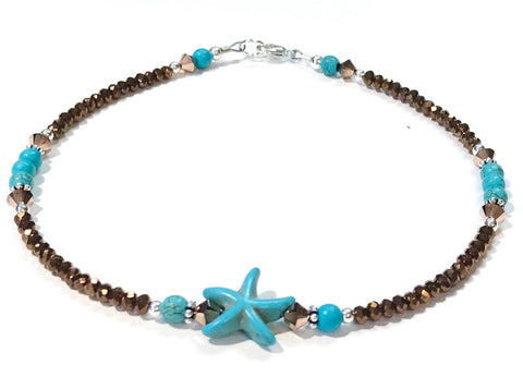 beach anklet - starfish - sterling silver - turquoise color and bronze
