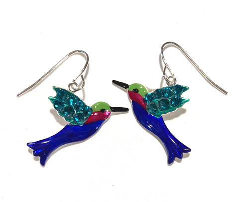 colorful hummingbird earrings