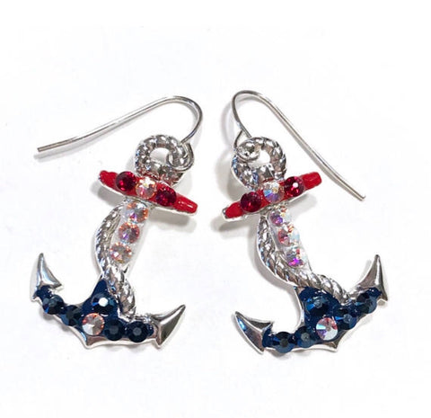 Anchor Earrings - Nautical Jewelry - Red White and Blue - Hurstjewelry