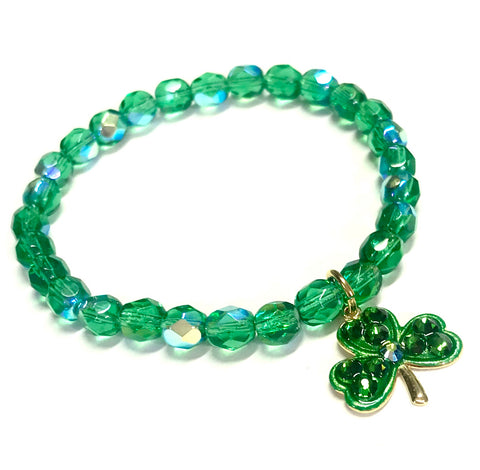 Shamrock Bracelet - Green - Stretch Bracelet