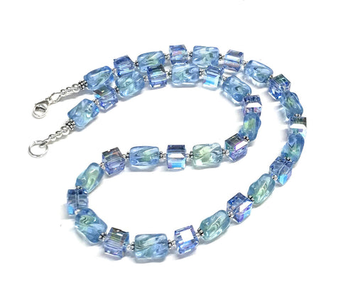 Blue Ice Glass and Crystal Necklace - Sterling Silver