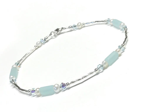 Anklet - Light Aqua - Sterling Silver