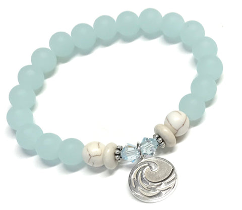 Sterling Silver Wave Charm Bracelet - Light Seafoam Beads
