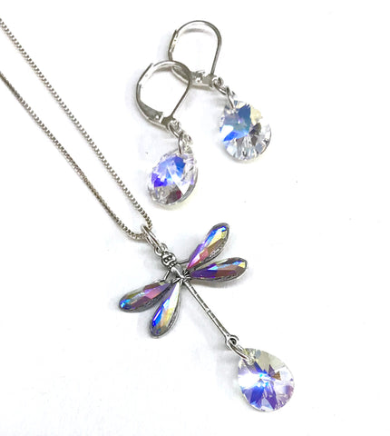 Dragonfly Necklace and Earring Set Crystal AB