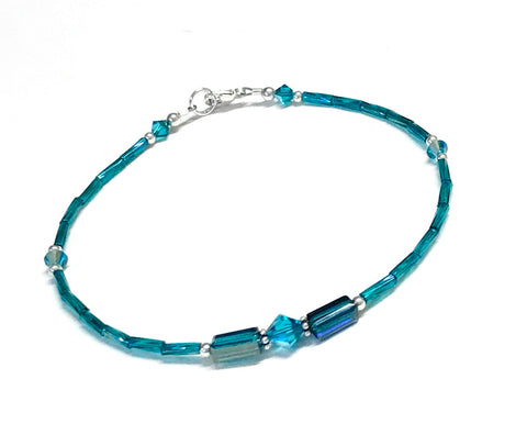 Teal Anklet - Crystal and Glass - Sterling Silver Ankle Bracelet - 9 to 12 Inches