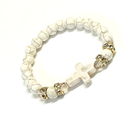 Cross Bracelet - Stretchy - Crystal Accents