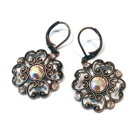 Filigree Earrings - Silk Swarovski Crystal - Brass Leverbacks