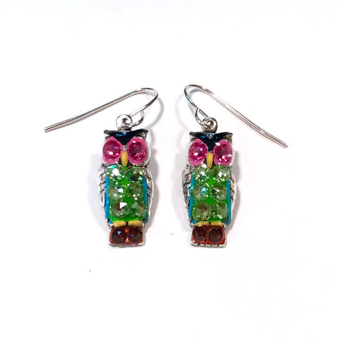 Owl Earrings - Hand Painted - Colorful Earrings