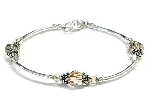 Golden Shadow Crystal Sterling Silver Bracelet