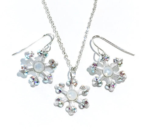 Snowflake Earrings and Necklace Set - Christmas Jewelry