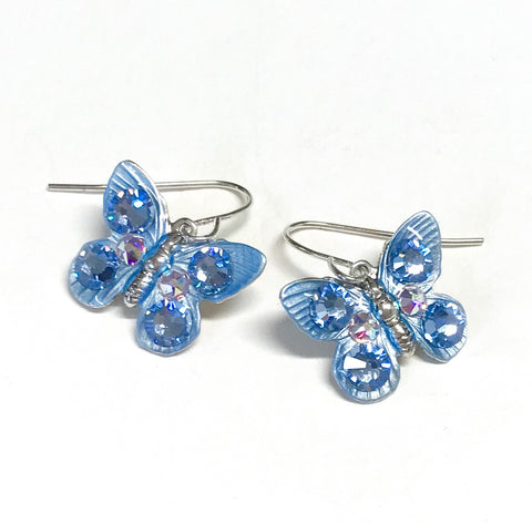 Butterfly Earrings - Butterfly Jewelry - Light Sapphire Crystal