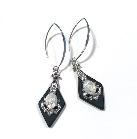 Black Stained Glass Earrings - Glass Opal - Sterling Silver Earwires