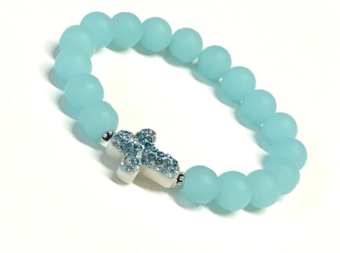 Cross Bracelet - Seafoam Matte Glass Beads - Stretch Bracelet