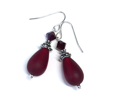 Red Earrings - Matte Glass Teardrops - Sterling Silver