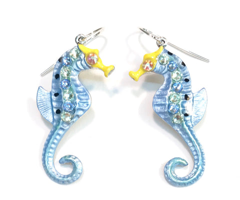 Seahorse Earrings - Seahorse Jewelry - Light Blue - Hurstjewelry