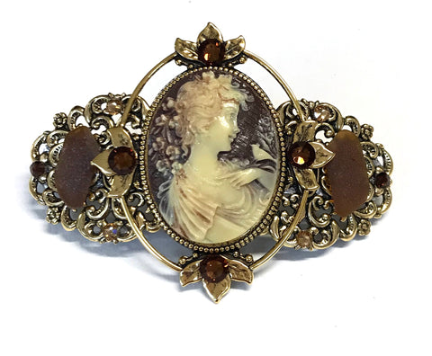 Cameo Hair Barrette Brown and Creme Cameo
